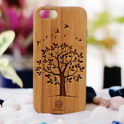Autumn Tree Wood Phone Case | Bamboo Phone Case | Wooden Phone Covers | Cool iPhone Cases | Engraved Phone case | Inspirational Phone Case from Woodgeek Store