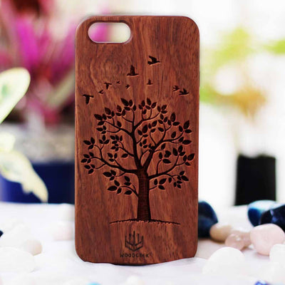 Autumn Tree Wood Phone Case | Rosewood Phone Case | Wooden Phone Covers | Cool iPhone Cases | Engraved Phone case | Inspirational Phone Case from Woodgeek Store