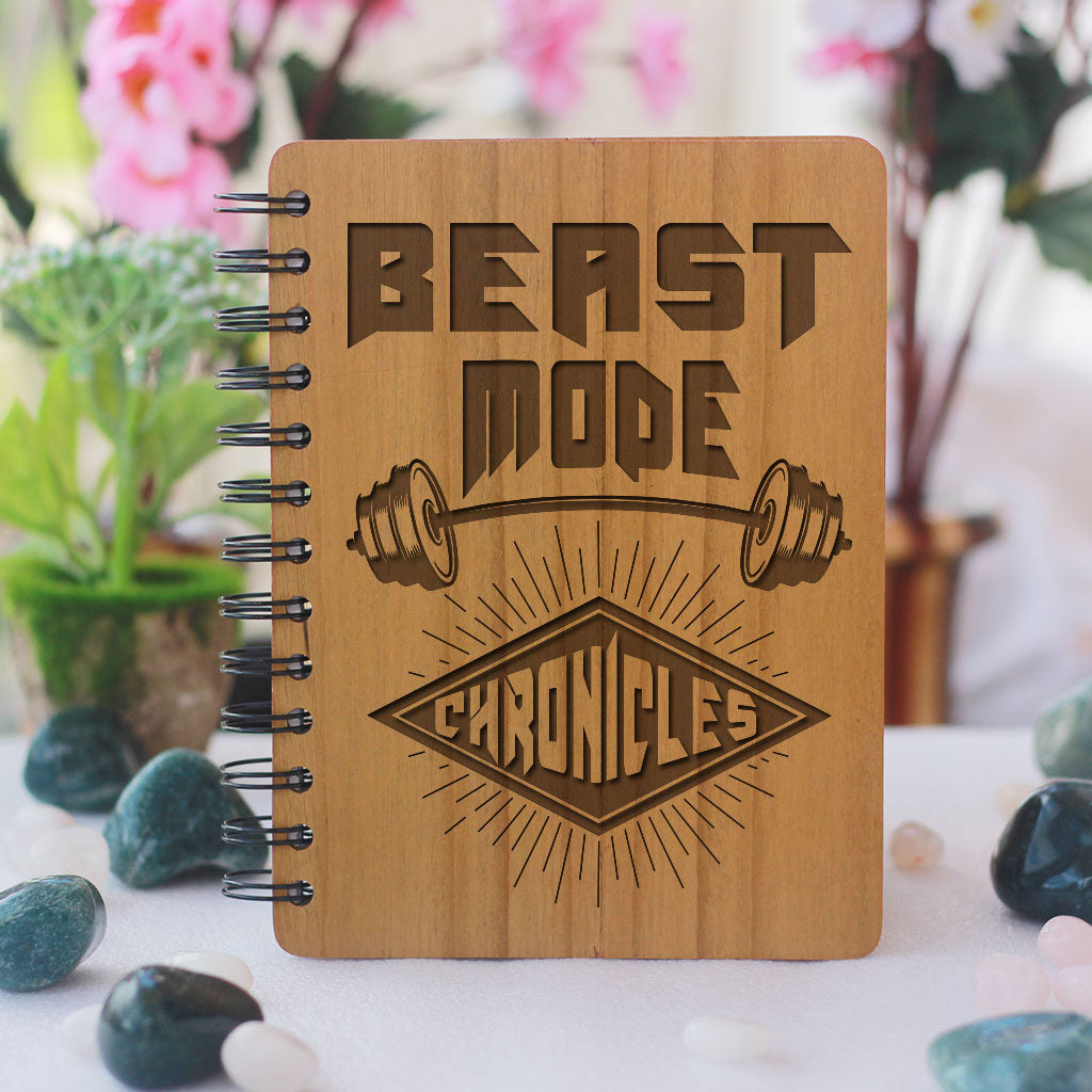 Beast Mode Chronicles - bamboo wood notebook- woodgeekstore- Health Journal