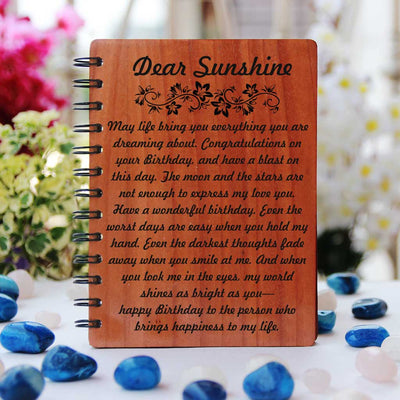 Birthday Wishes For Lover Engraved On Wooden Notebook