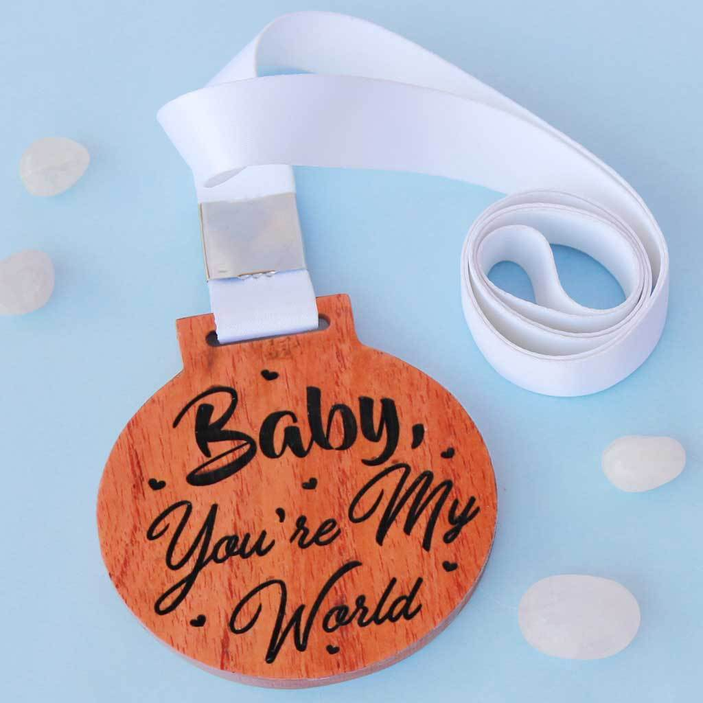 Baby, You're My World Engraved Medal. This is the perfect wedding day gift or Valentine's Day gift. Romantic Gifts For Him & Her.