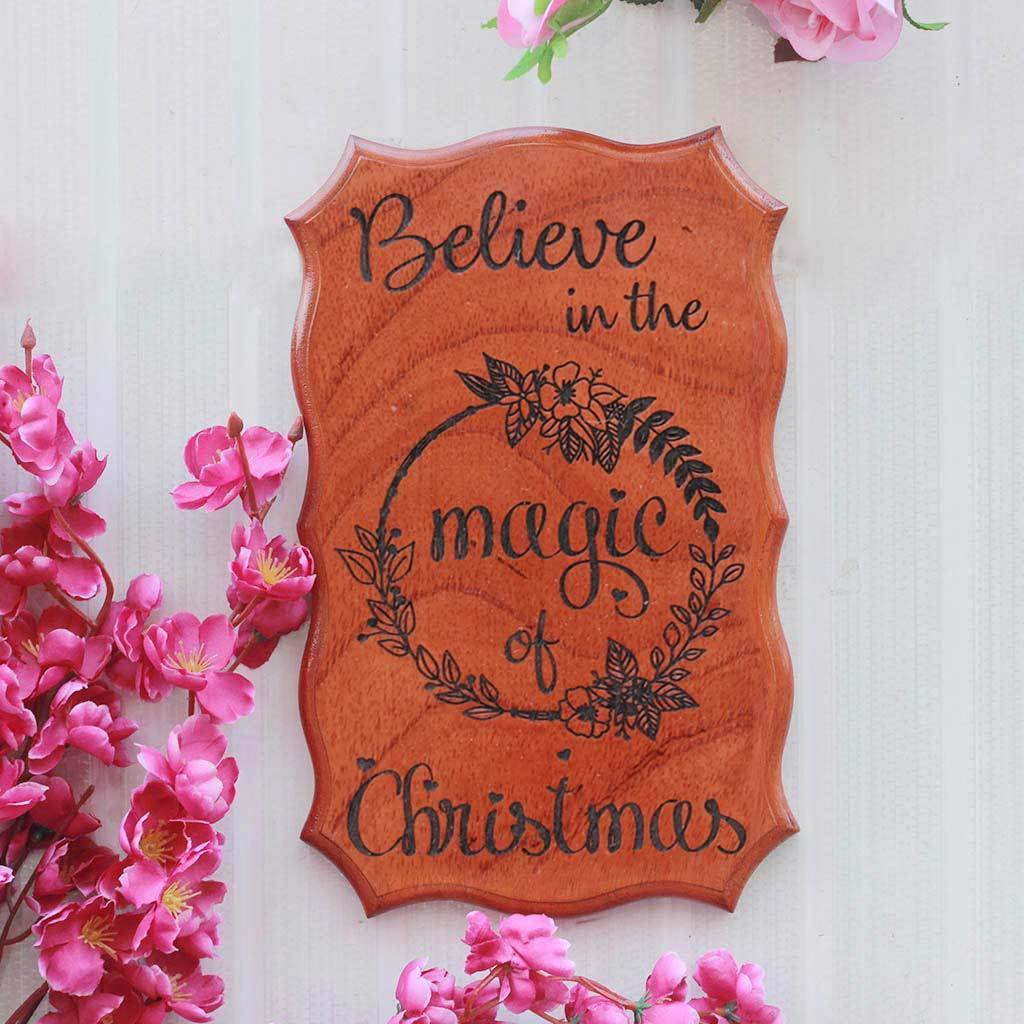 Believe In The Magic Of Christmas Engraved Wood Signs - Best Secret Santa Gifts by Woodgeek Store - Christmas Gifts For Him - Christmas Gifts For Her - Unique Wooden Posters - Wood Shop Online
