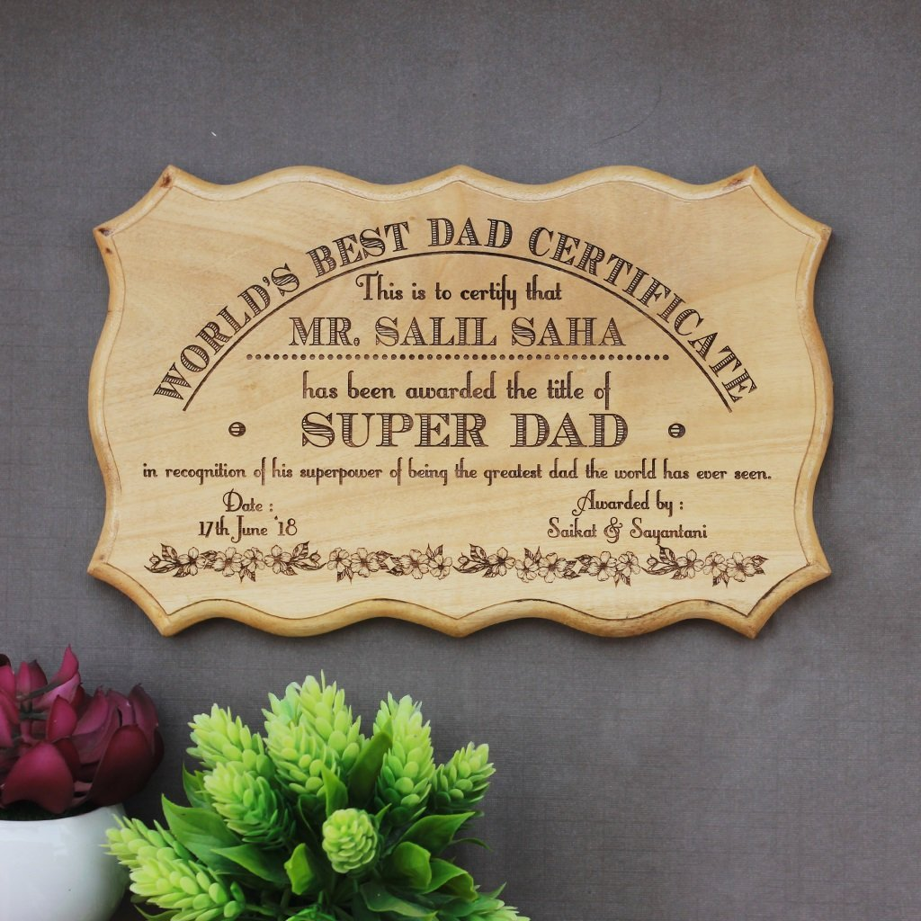 Personalized World's Best Dad Certificate - Unique Wooden Certificates - Unique Father's Day Gifts by Woodgeek Store
