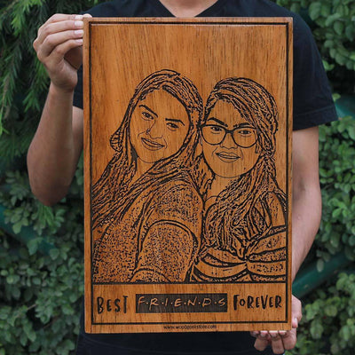 Best Friends Forever Personalized Wooden Frame - Wooden Wall Decor - Gifts for Friends & Friends Fans - Customized Wooden Poster in Beech Wood by Woodgeek Store