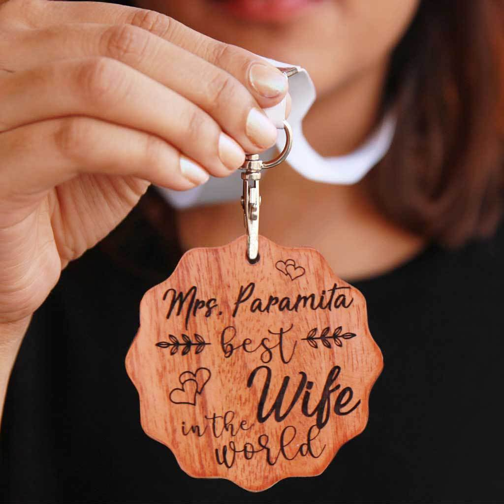 Best Wife In The World Wooden Medal. This is the best anniversary gift for wife. This custom medal makes the most romantic gifts for her.