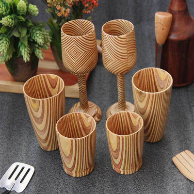 best wooden glassware set of 6 - patterned plywoodwoodgeek store