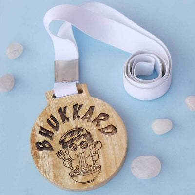 Bhukkad Wooden Medal With Ribbon. This Funny Medal Is The Best Gifts For Foodies. This Custom Engraved Medal Makes A Funny Gift For Friends & Great Friendship Day Gifts