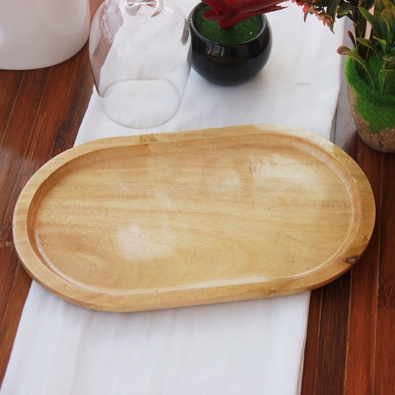 Oval Shaped Mahogany Wood Tray for serving food and drinks. This wooden tray can also be used for decorative purposes