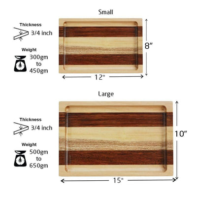 Measurement for Birch and Walnut Wooden Tray - Woodgeek Store