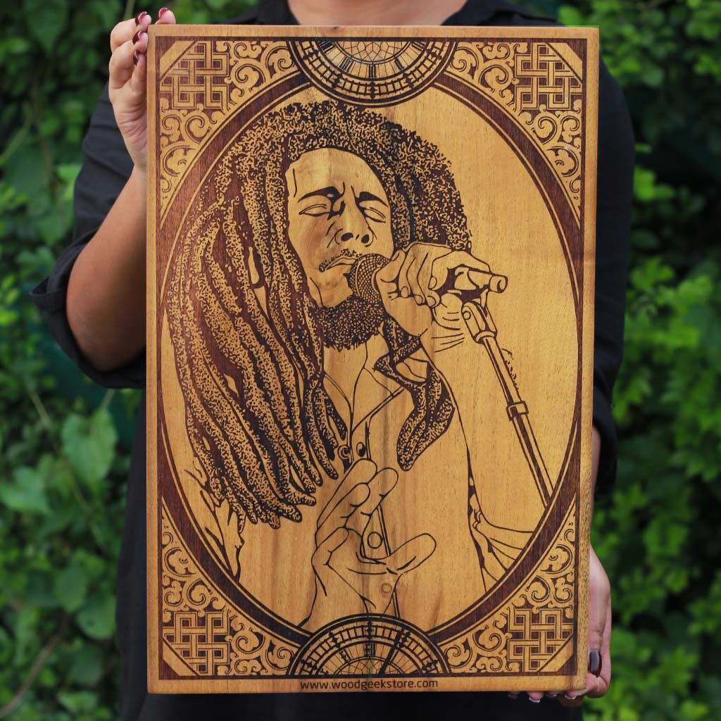 Bob Marley Wood ArtWork | Carved Wood Wall Art Decor | Rastafarian | King of Reggae | Woodgeek Store