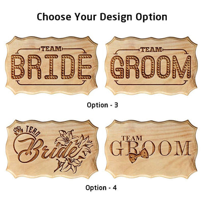 Team Bride & Team Groom Carved Wooden Signs - Fun Wooden Wedding Signs - Decor for Bachelorette and Bachelor's party - Gifts for Bridesmaids & Groomsmen - Rustic Wooden Decor For Weddings by Woodgeek Store