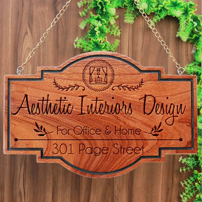 Wooden Name Plates Hanging Sign For Interior Designers. These custom name plates make attractive business signs for design companies. These office name plates are the best gifts for interior designers.