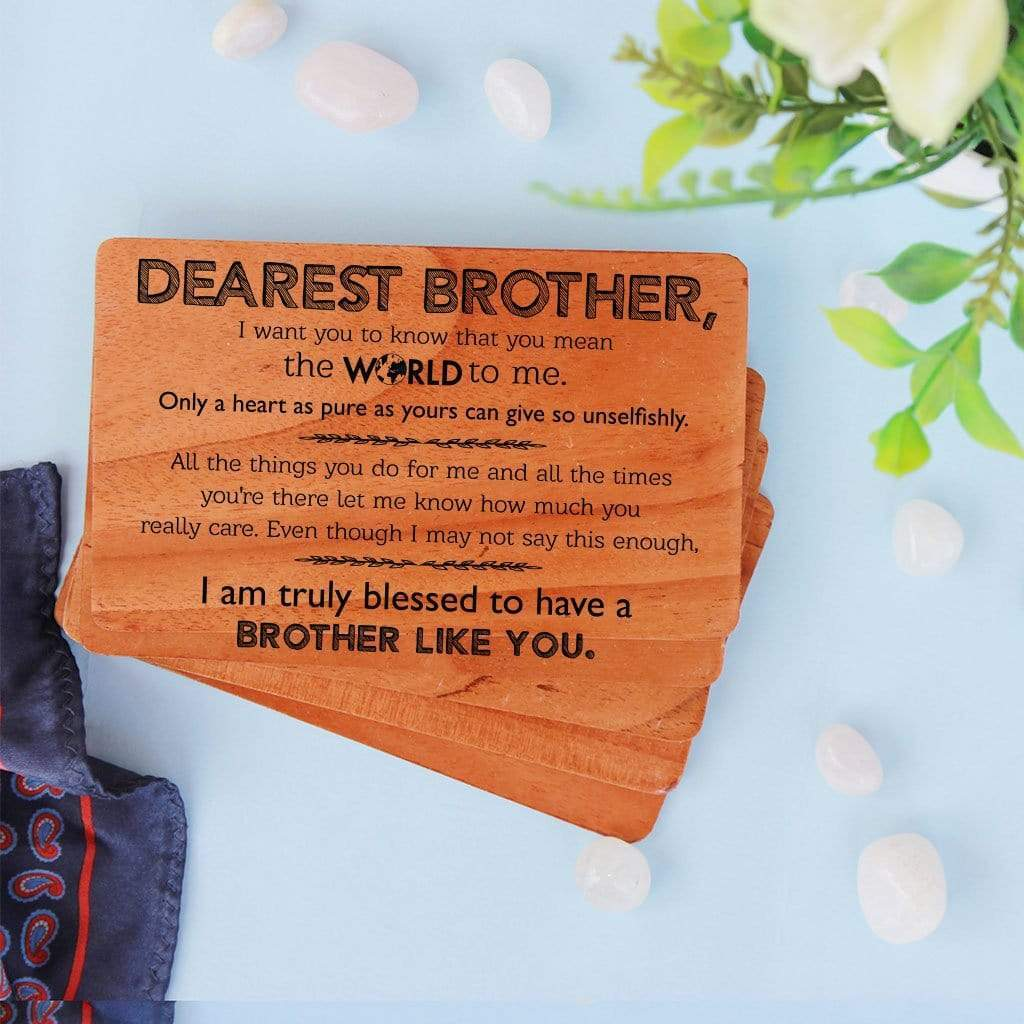 Greeting Card For Brother: Set Of Personalized Wooden Cards. These wooden cards make perfect birthday card for brother, raksha bandhan card, card for brother in law or greeting card for brother for any occasion.