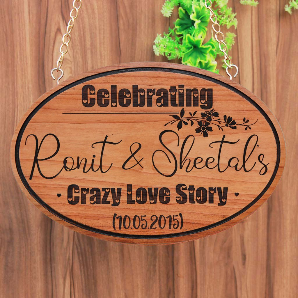 Crazy Love Story Hanging Sign. A custom wooden sign that is a great gift for boyfriend or girlfriend. This personalized wooden plaque is also a great anniversary gift and Valentine's Day gift. Looking for a photo gift? Here's a wood engraved photo.
