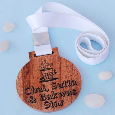 Chai, Sutta & Bakwas Star Wooden Medal. A Funny Medal That Will Make One Of The Best Gifts For Work Friends. These Medals Make Great Office Gift Ideas or Funny Gifts for Friends.