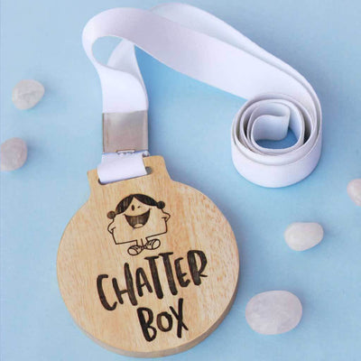 Chatterbox Funny Medal With Ribbon. Funny employee awards for talkative colleague. This will also make funny gifts for friends.