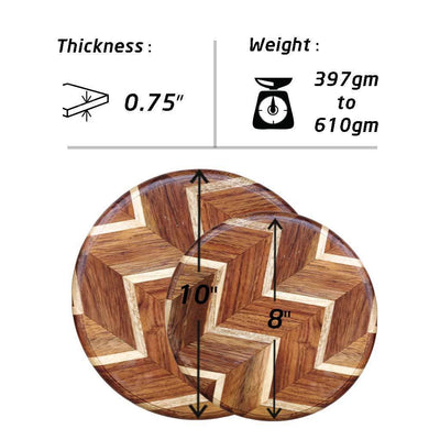 Measurements for Chevron Pattern Round Chopping Board - Wooden Cutting Board