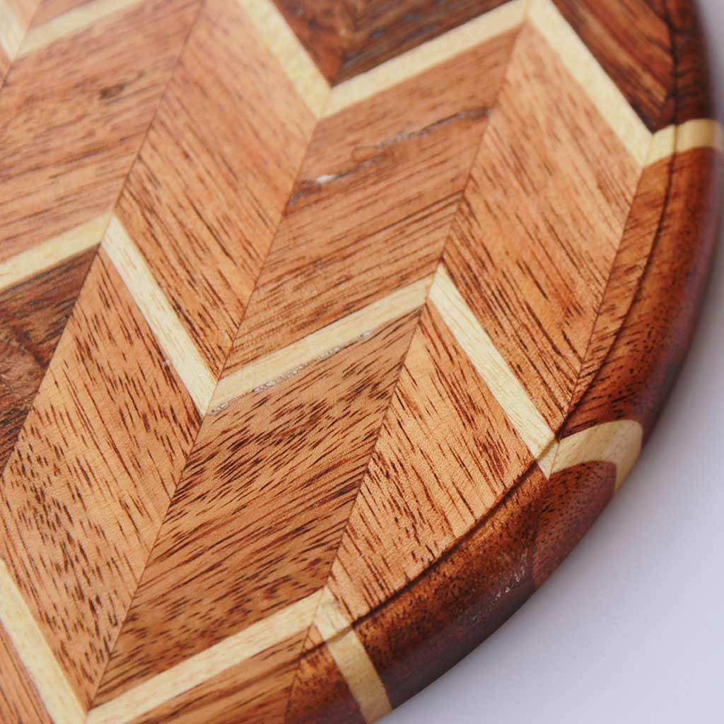 Chevron Pattern Wooden Round Chopping Board Wood Cutting Boards