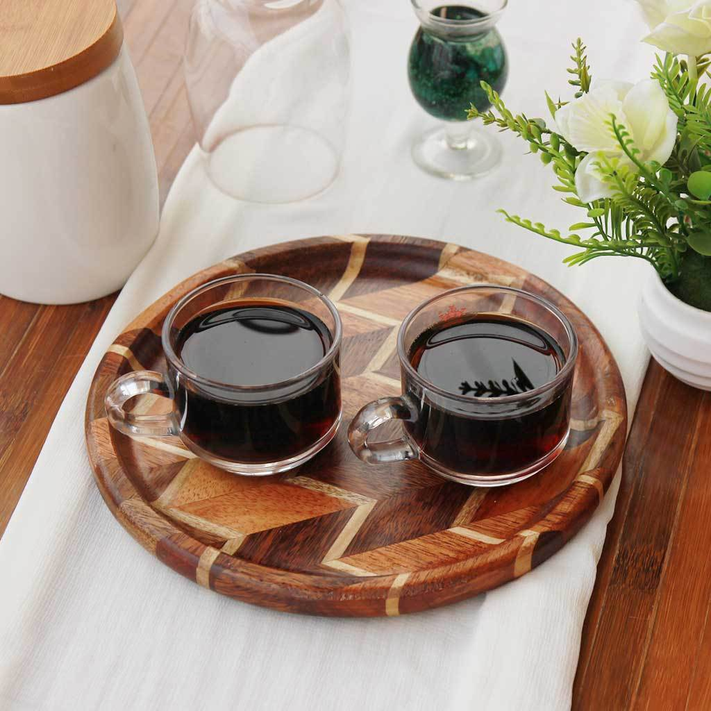 Chevron Pattern Tray. A Round Wooden Serving Tray. This wooden tray can also be used for decorative purposes.