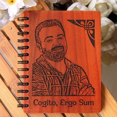 Cogito Ergo Sum: I Think, Therefore I Am Personalized Wooden Notebook. This personalised diary with photo is the best gift for teachers day. This spiral notebook also makes a great birthday gift for teacher, farewell gift for teacher or thank you teacher gifts.