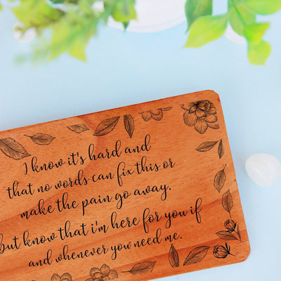 Sympathy Cards. A Set Of Personalized Wooden Cards Engraved With Condolence Note. Send condolence message to colleague or thank you for condolence notes with engraved wooden cards