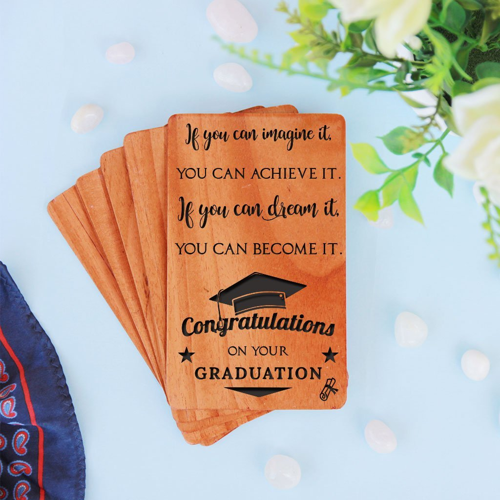 Congratulations graduate cards, graduation invitation cards and graduation announcement cards. A Set Of Personalized Wooden Cards Engraved With Graduation Wishes
