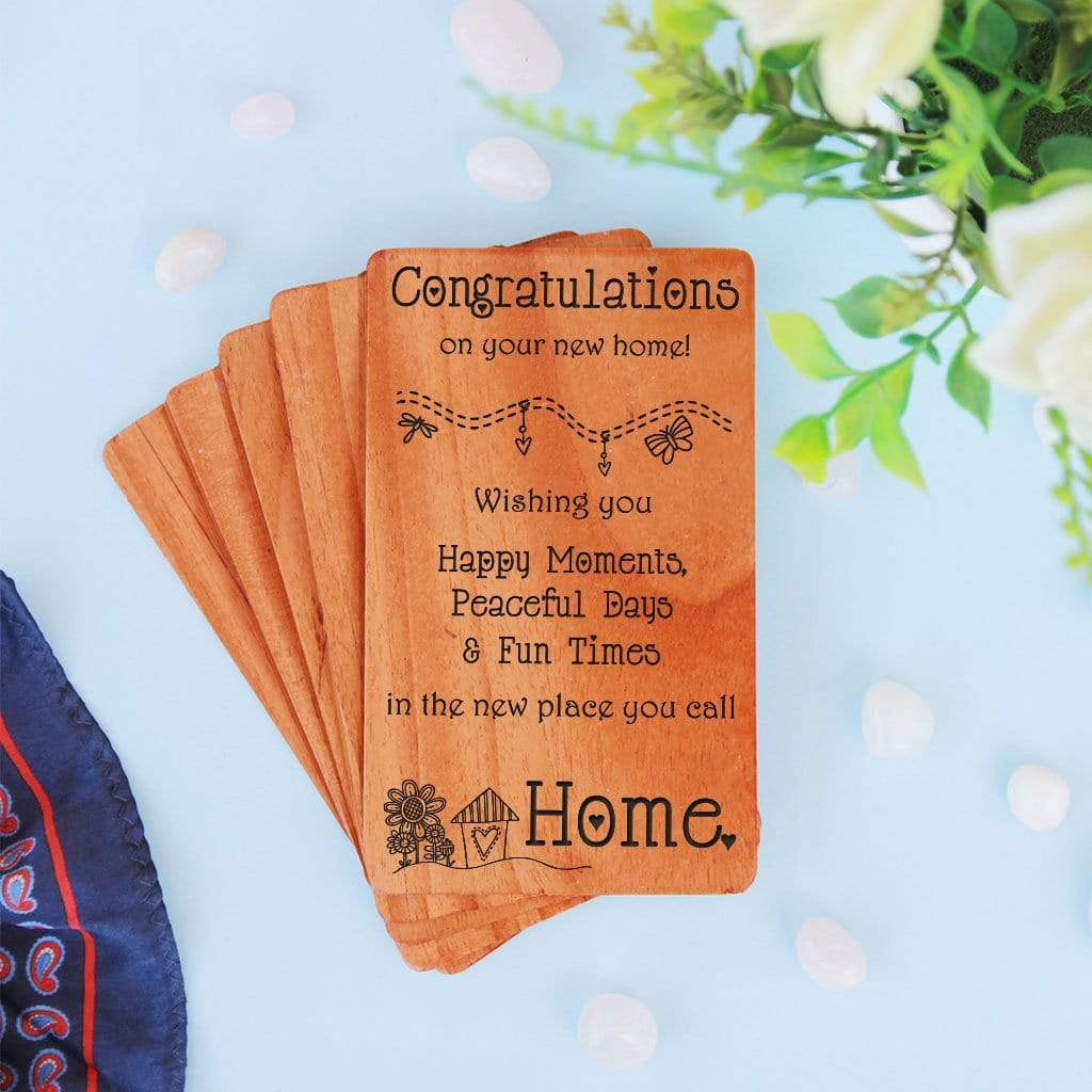 Congratulations On New Home Greeting Cards. A Set Of Personalized Wooden Cards Engraved With House Warming Wishes.Wooden cards for new home announcement, housewarming invitation card or new home wishes for friends and family