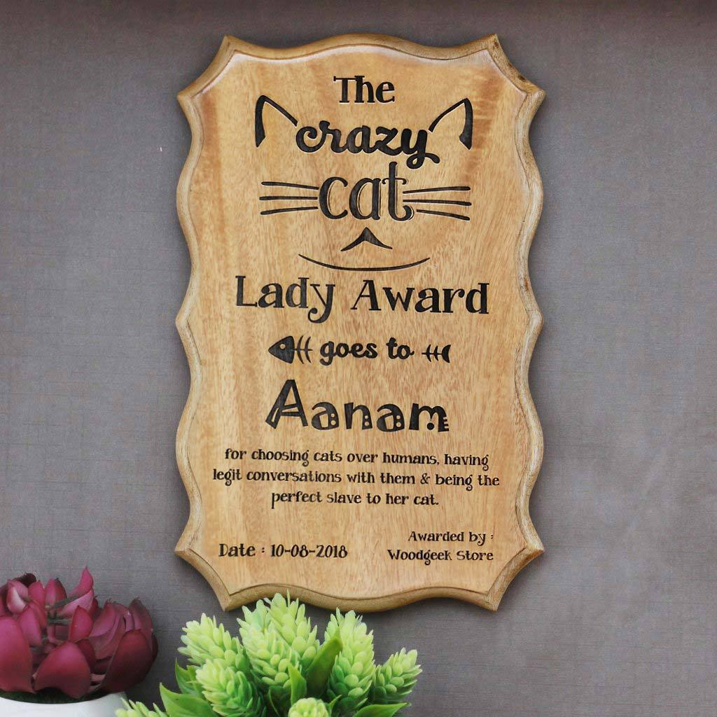 The Crazy Cat Lady Award Certificate - Funny Award Certificates for friends - Humorous Awards - Wooden Certificate by Woodgeek Store