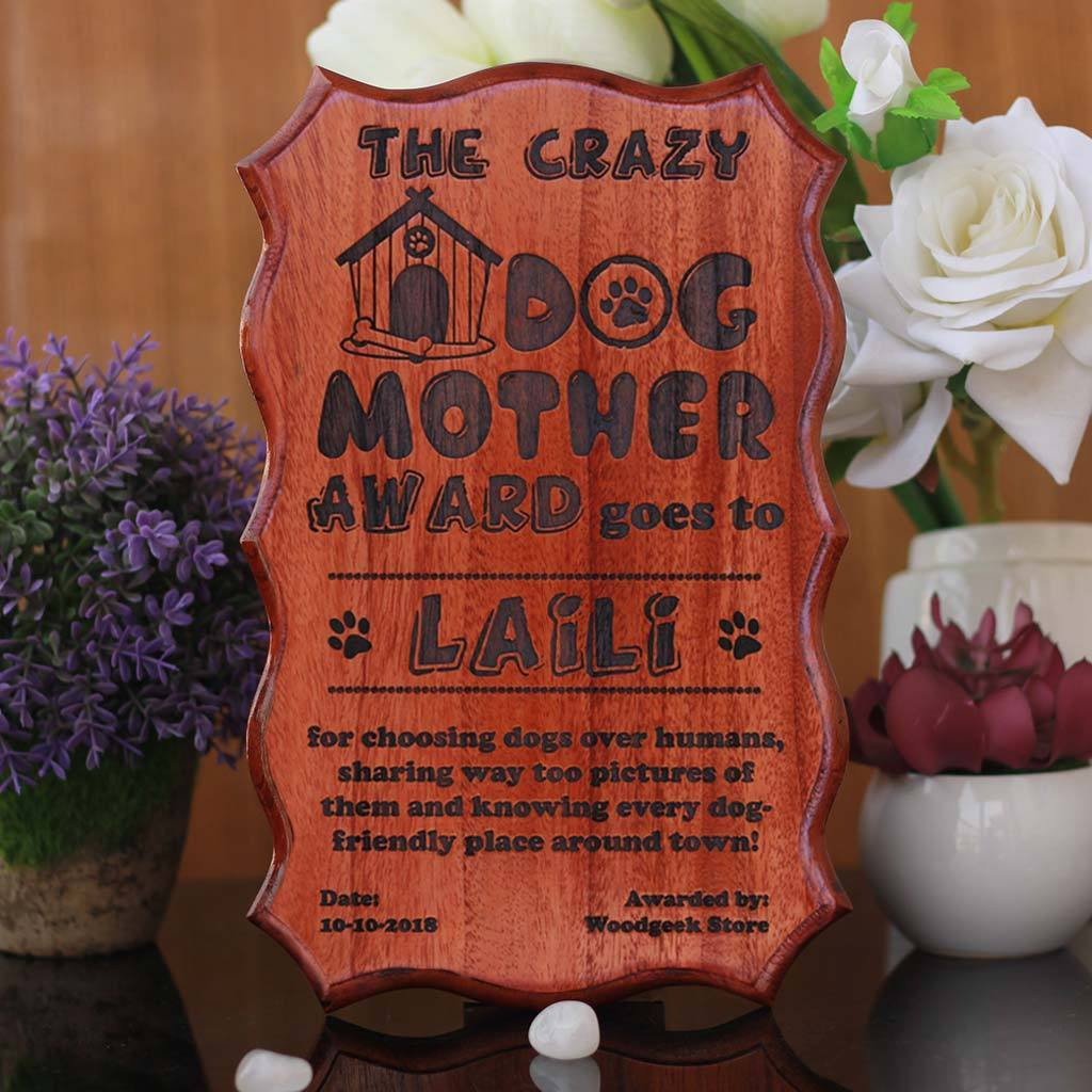 The Crazy Dog Lover - Best Dog Mother Award Certificate - Funny Award Certificates for friends - Humorous Awards - Wooden Certificate by Woodgeek Store