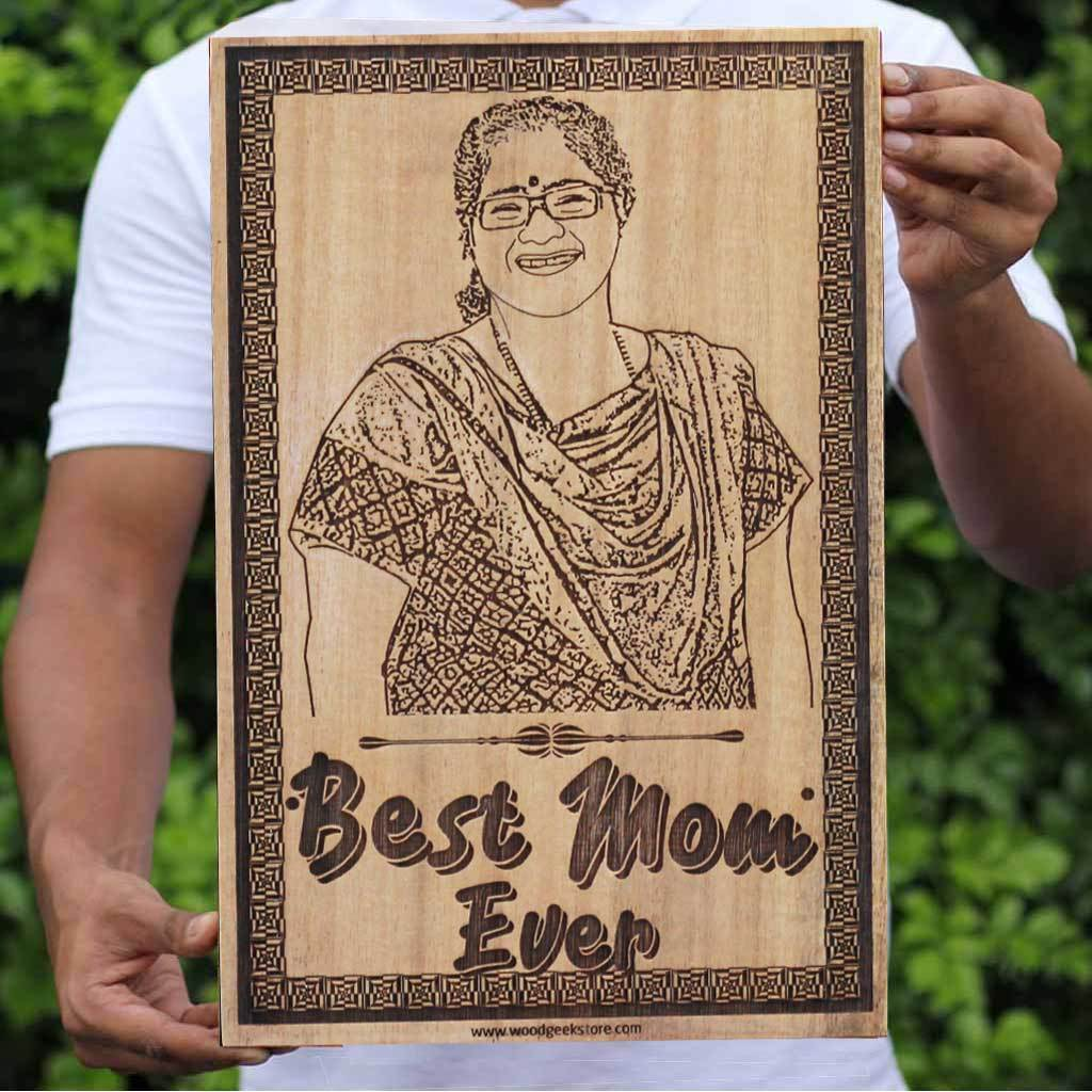 Personalized Gifts for Moms | Mother's Day Gifts | Photo on Wood | Engraved Wooden Photo Frame | Carved Wooden Poster | Wood Wall Art | Woodgeek Store