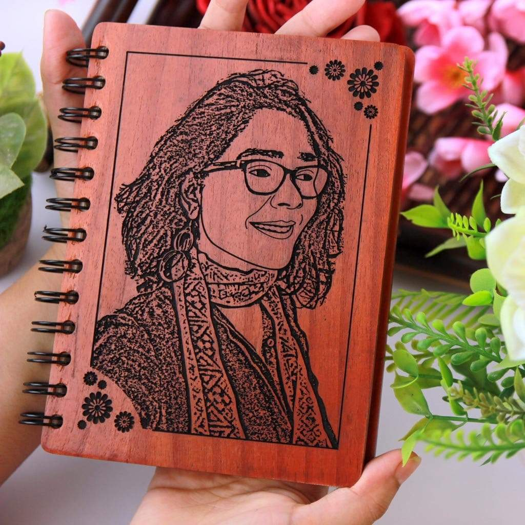 Custom Wooden Notebook For Teachers Personalized With A Photo | This Diary With Photo Makes The Best Teacher Appreciation Gifts | Looking For Personalized Teacher Gifts ? Buy Teacher's Day Gifts, Farewell Gifts For Teachers, Or Birthday Gift Ideas For Teachers From The Woodgeek Store.