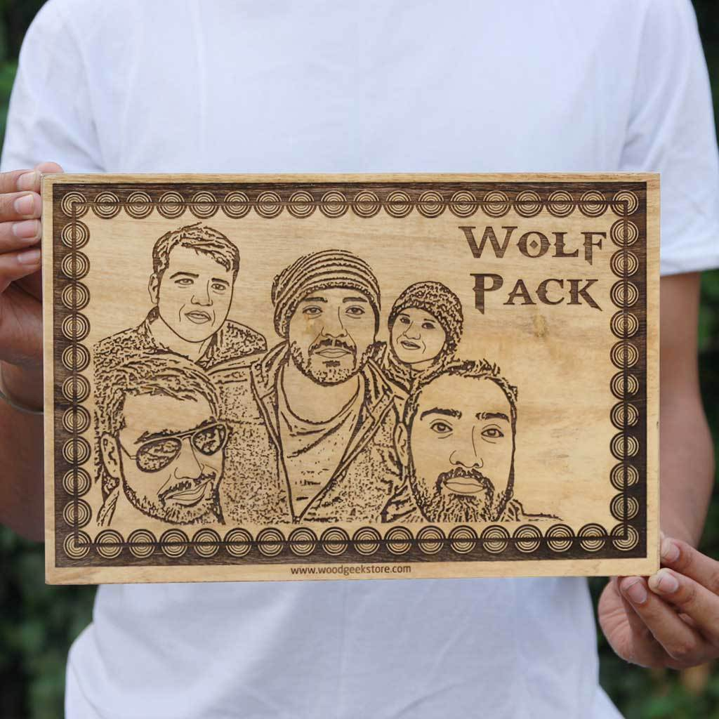 Personalized Wall Art - Wolf Pack Wooden Picture Frame - Friendship Wall Poster - Carved Wooden Poster - Personalized Friendship Day Gifts with photo engraving from Woodgeek Store