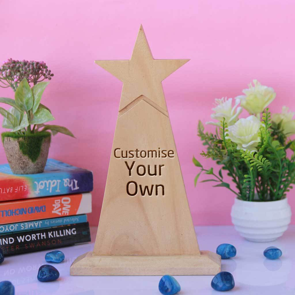 Wooden Star Trophy. Customise Your Own Wooden Trophies & Awards. Create Your Own Custom Trophies. Make Your Own Football Trophy, Badminton Trophy or Other Sports Awards, Best Employee Award or Other Employee Appreciation Awards, Funny Awards and Trophies