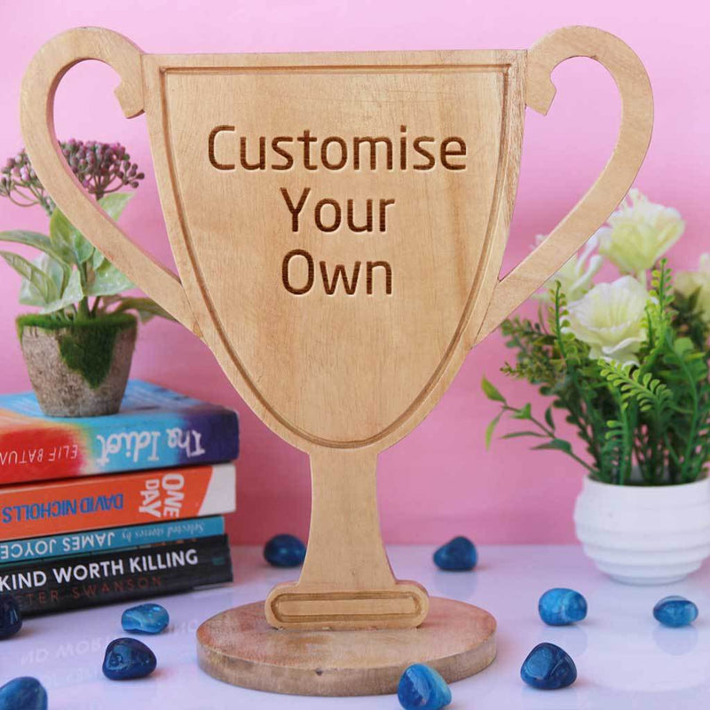 Customise Your Own Wooden Trophies & Awards. Create Your Own Custom Trophies. Make Your Own Football Trophy, Badminton Trophy or Other Sports Awards, Best Employee Award or Other Employee Appreciation Awards, Funny Awards and Trophies