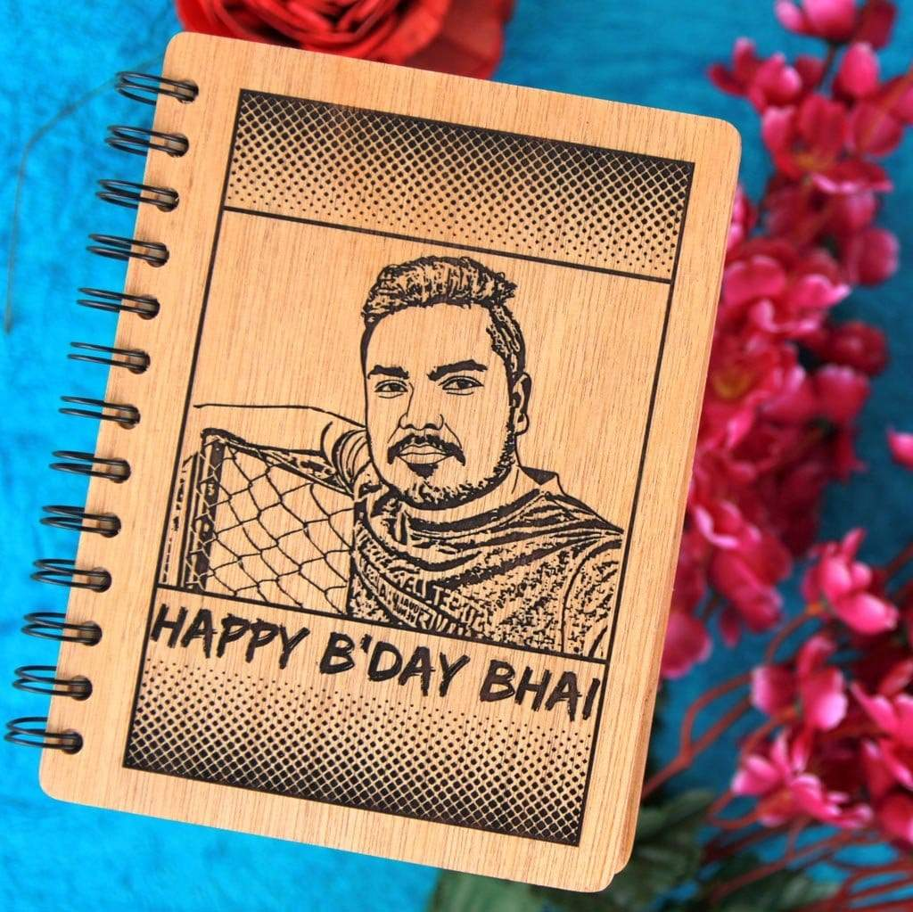 Happy Birthday Bhai Personalized Wooden Notebook - This Wooden Notebook Journal Can Be Customized With A Photo And Personal Message - These Photo Gifts Make The Best Birthday Gifts For Brothers - Shop Personalized Gifts For Brothers Online From The Woodgeek Store