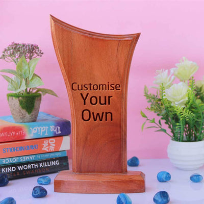 Wooden Award Standee. Customise Your Own Wooden Trophies & Awards. Create Your Own Custom Trophies. Make Your Own Football Trophy, Badminton Trophy or Other Sports Awards, Best Employee Award or Other Employee Appreciation Awards, Funny Awards and Trophies