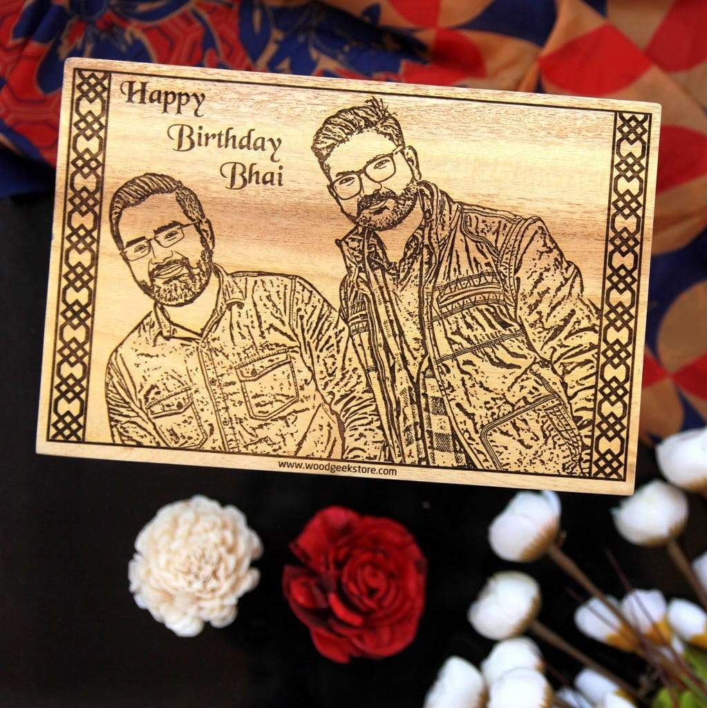 Custom Engraved Wooden Birthday Poster For Brothers | This Wood Wall Art Makes One Of The Best Personalized Birthday Gifts For Brothers | Customize More Photo on Wood From The Woodgeek Store.