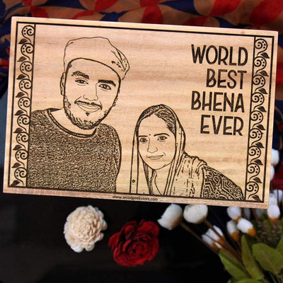 Personalized Wooden Picture Frame For The World's Best Behena Ever - This Engraved Wooden Photo Frame Makes One Of The Best Gifts for Sister - Shop More Personalized Rakhi Gifts For Sisters Or Birthday Gifts For Her From The Woodgeek Store