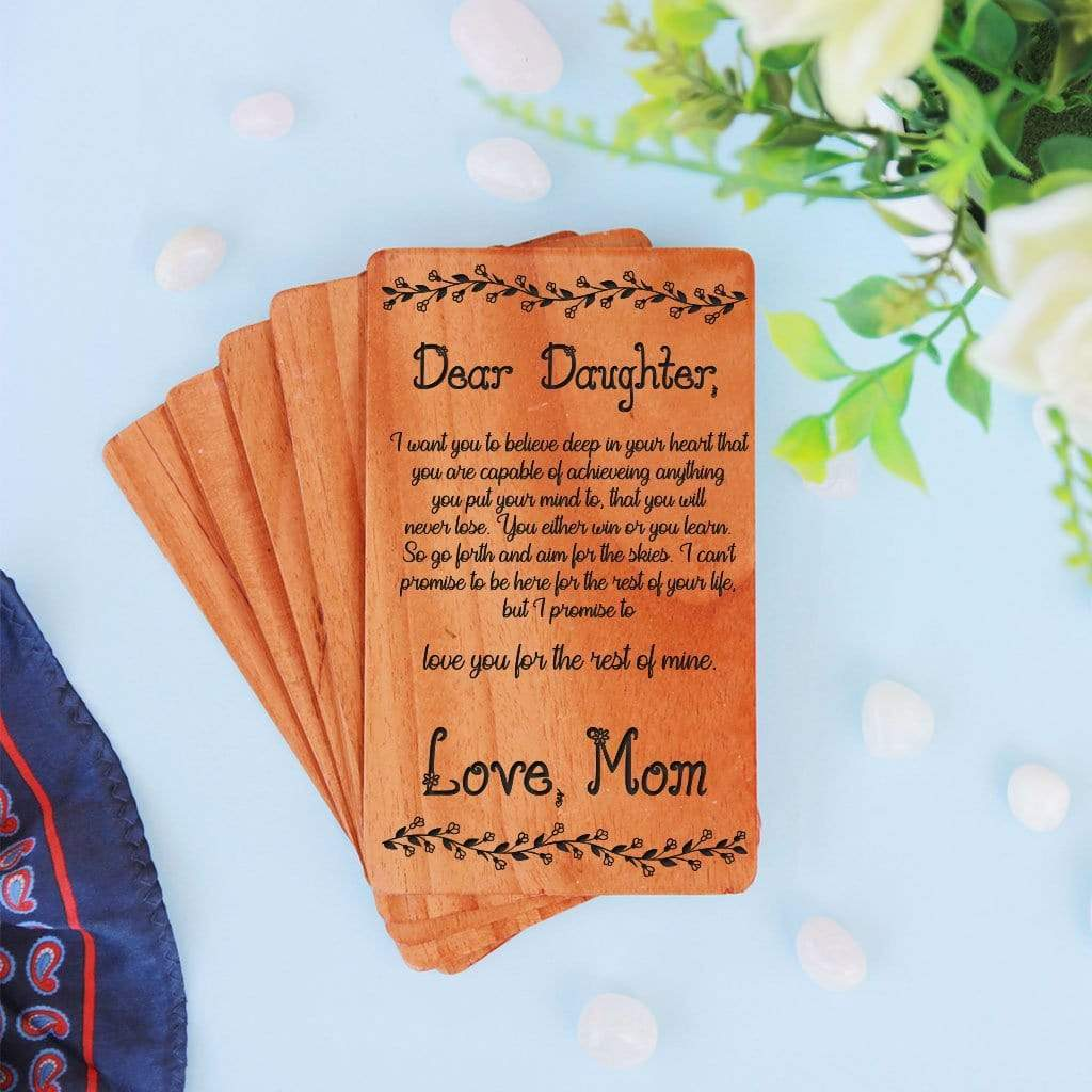 A Set Of Personalized Wooden Cards. Greeting Card For Daughter. Daughter birthday card, birthday wishes for daughter in law, wedding wishes for daughter and son in law engraved on a wooden greeting card.