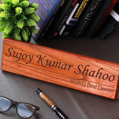 Office Desk Nameplates - These Wood Engraved Custom Desk Nameplates With A Name And Designation By Woodgeek Store Make The Best Corporate Gift Items.
