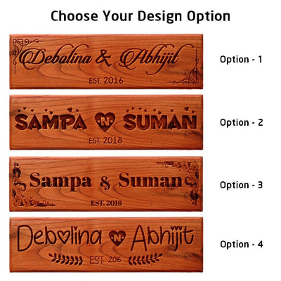 Custom House Nameplates For Couples & Newly Weds for desk & door - Wooden Couple Name Signs by Woodgeek Store