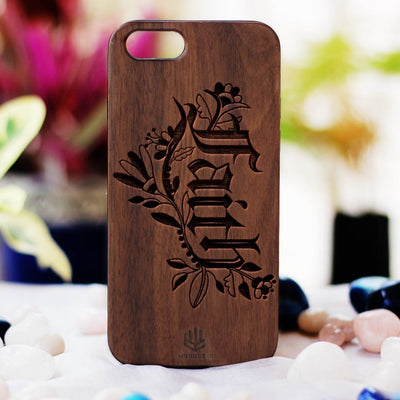 Faith Wooden Phone Case from Woodgeek Store - Walnut Wood Phone Case - Engraved Phone Case - Wooden Phone Covers - Custom Wood Phone Case - Inspirational Phone Cases