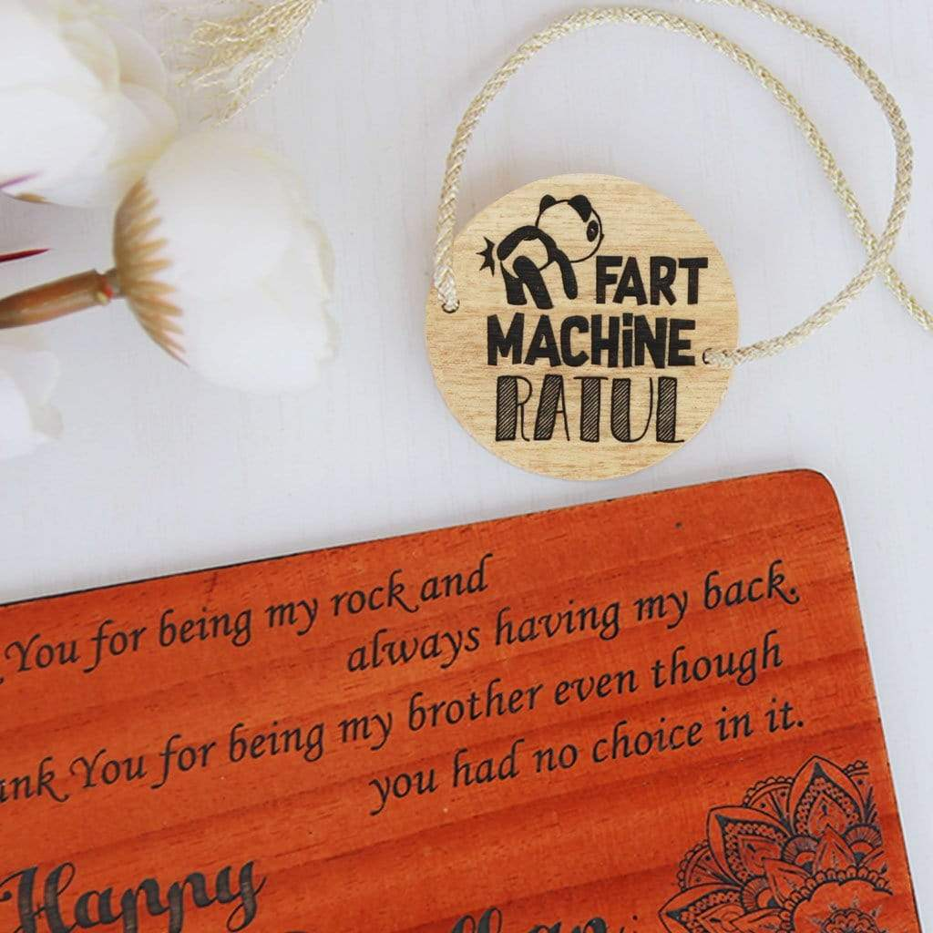Fart Machine Personalised Rakhi and Raksha Bandhan Greeting Card. This Wooden Rakhi and Wooden Greeting Card Is The Best Raksha Bandhan Gifts for Brother. Buy Rakhi Online India and send Rakhi online with Woodgeek Store.