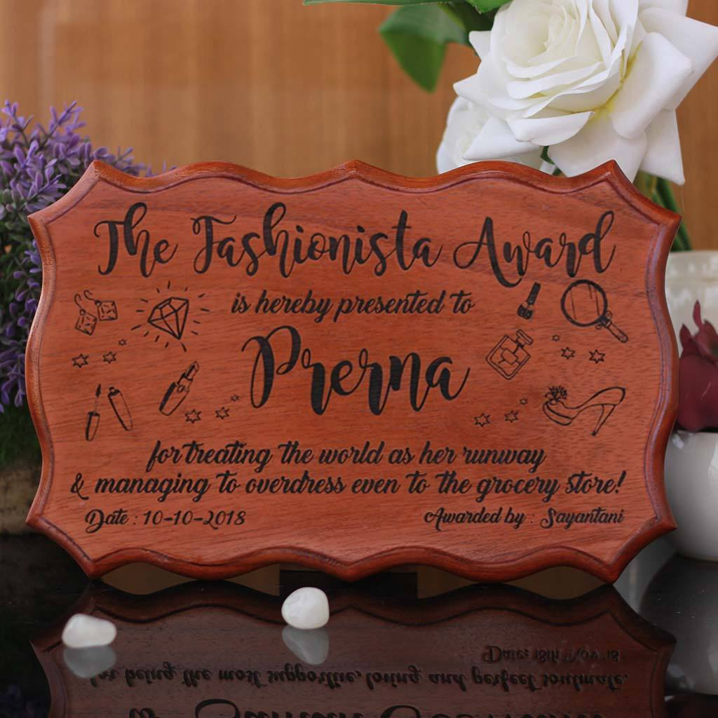 The Fashionista Award Certificate - Funny Recognition Awards for Friends and Employees - Wooden Custom Certificates by Woodgeek Store