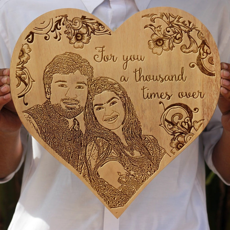 For You A Thousand Times Over Wooden Photo Frame - Custom Engraved Wooden Poster With Image - Heart shaped Wooden Plaque in Mahogany Wood - Woodgeek Store