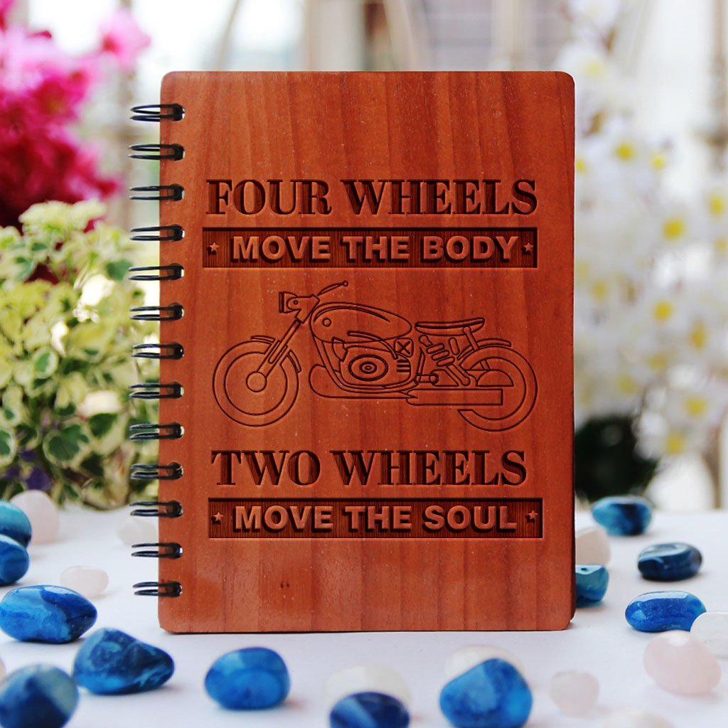 Two wheels move the soul - Personalized Wooden Notebook