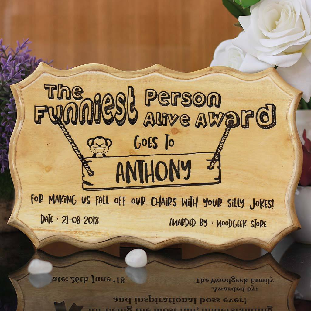 The Funniest Person Alive Award Certificate - Funny Employee Awards - Custom Certificates - Woodgeek Store