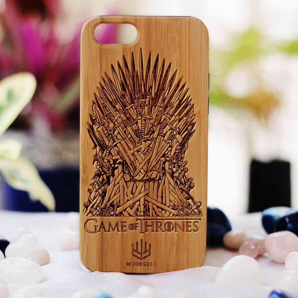 Game of Thrones: Iron Throne Wood Phone Case - Rosewood Wood Phone Case - Engraved Phone Case - Wood Phone Cases - Inspirational Wood Phone Covers - Woodgeek Store