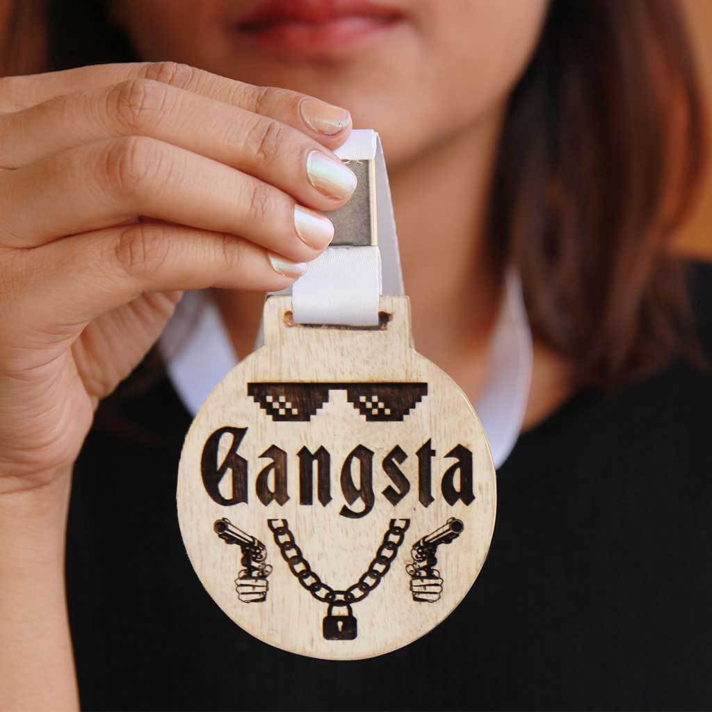 Gangsta Wooden Medal With Ribbon. These Funny Medals Make Great Friendship Day Gifts Or A Simple Birthday Gift For Friends.