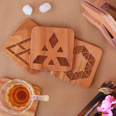 Geometric Coasters - Wooden Coaster Set With Holder. Geometric Design Coasters Make Great Home Decor Gifts. Tea Coaster & Coffee Coaster For Your Table.
